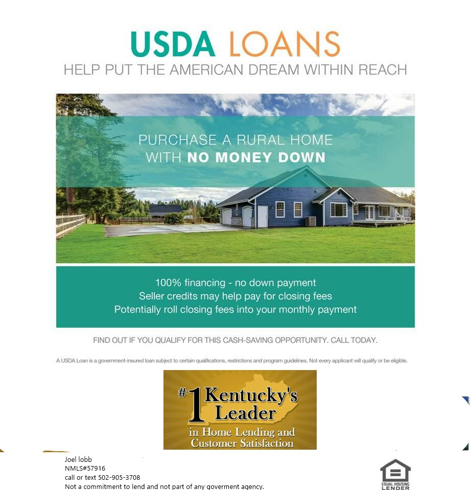 USDA Lenders Based in Kentucky Offering Rural Housing Mortgage loans.