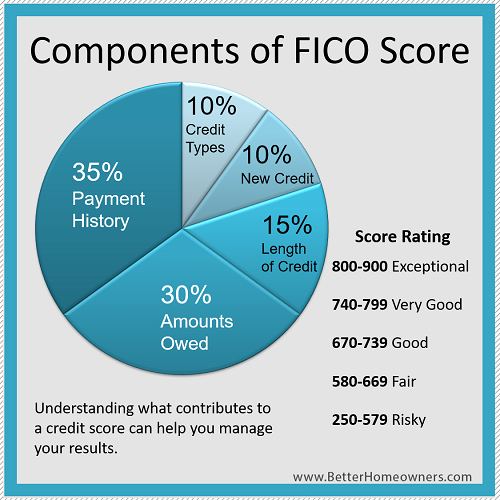 components of Fico Score are payment history, amounts owed, credit types, new credit and length of credit